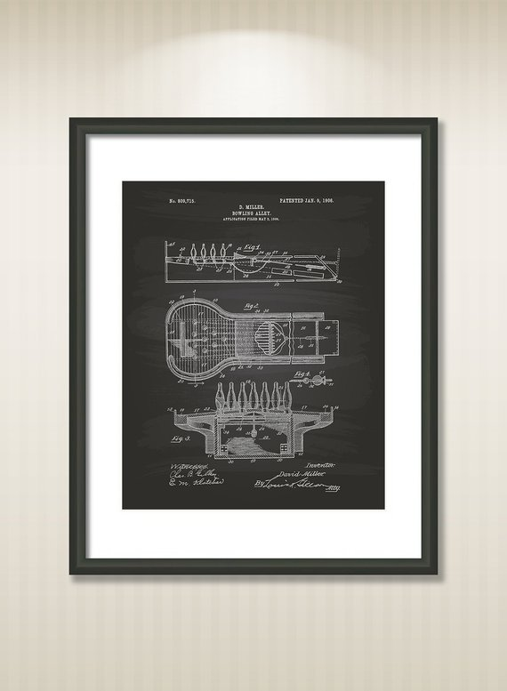 570x777 bowling alley patent art illustration drawing etsy - Bowling Alley Drawing