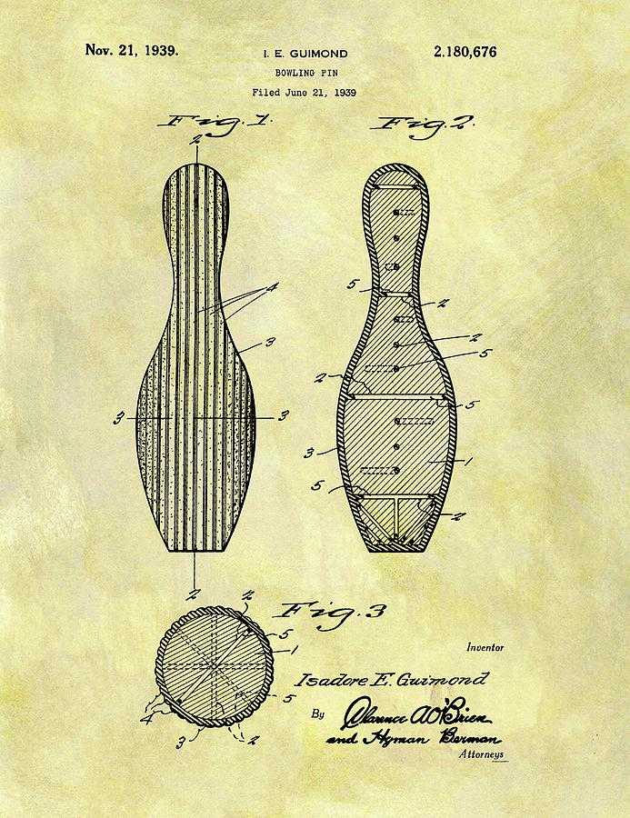 693x900 bowling pin patent drawing - Bowling Alley Drawing