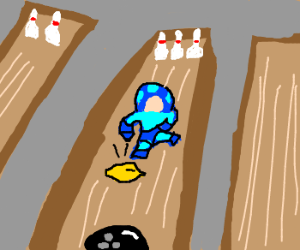 300x250 mega man with a gun blocks bowling alley drawing - Bowling Alley Drawing