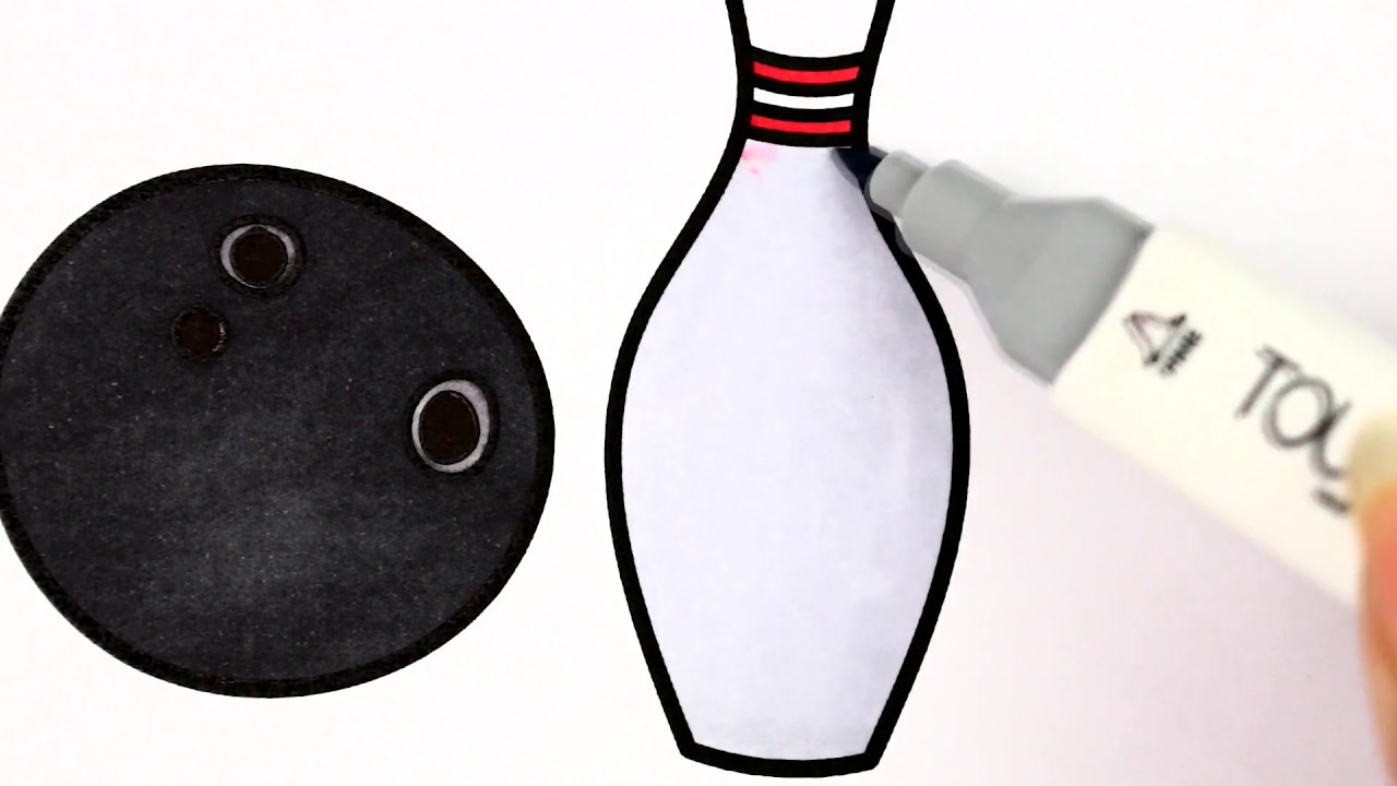 1280x720 bowling ball pins easy drawing tutorial coloring book for kids - Bowling Ball Drawing