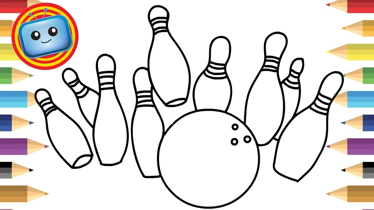 1280x720 bowling ball and pins colouring pages for kids learn drawing - Bowling Ball Drawing