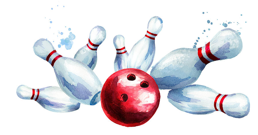 900x470 bowling ball crashing into the pins watercolor hand drawn - Bowling Ball Drawing