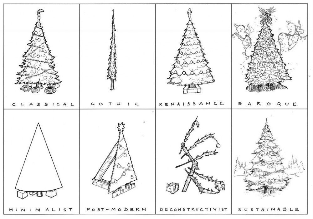 1000x702 a visual guide to the holidays build blog - Modern Christmas Tree Drawing
