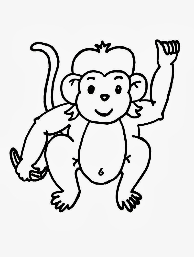 794x1054 kindergarten worksheet guide pictures clip art line drawing - Monkey Line Drawing