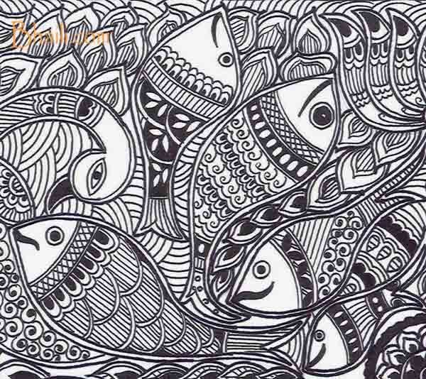 600x534 madhubani art a guide to create black and white madhubani - Monochrome Drawing