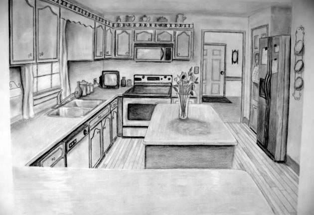 630x432 one point perspective drawing the ultimate guide - One Point Perspective Bedroom Drawing