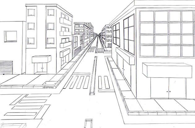 630x414 one point perspective drawing the ultimate guide drawing - One Point Perspective City Drawing