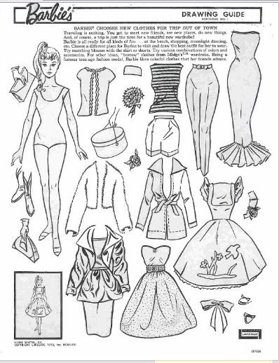 398x518 vintage barbie drawing guide portfolio barbie paper dolls - Paper Doll Drawing