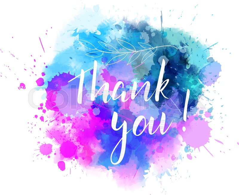 800x653 Thank You Hand Lettering Phrase On Watercolor Imitation Color - Color Splash Watercolor