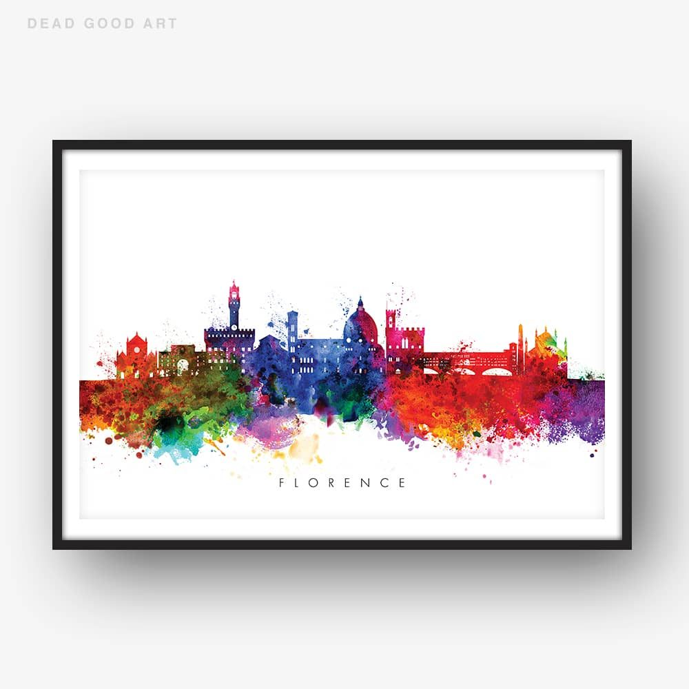 1000x1000 Florence Skyline, Multi Color Watercolor Print Dead Good Art - Color Watercolor
