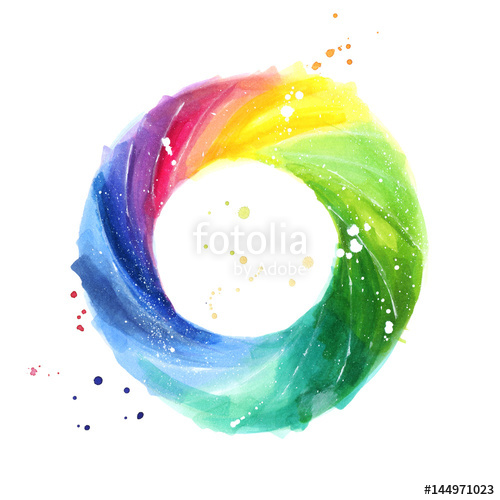 500x500 Abstract Color Wheel, Watercolor Painting Stock Photo And Royalty - Color Wheel For Watercolor Painting