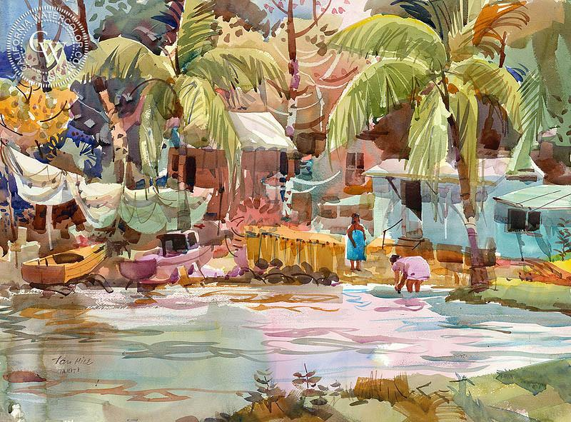800x591 Tahiti Lagoon, C. 1980s, A Watercolor Painting By Tom Hill - 1980s Painting
