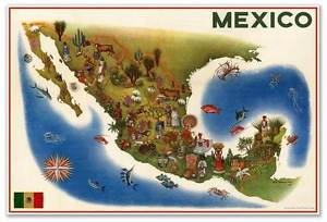 300x204 Huge Birds Eye View Art Map Painting Of Mexico By Luis Covarrubias - Birds Eye View Painting