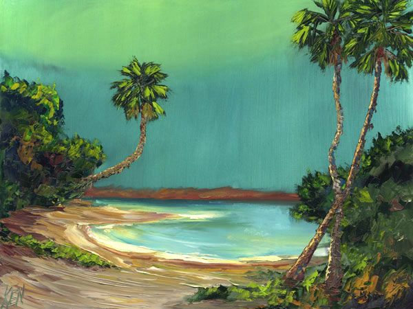 600x450 Moon Lagoon Florida Highwaymen Bob Ross Style Seascape Oil - Bob Ross Beach Painting