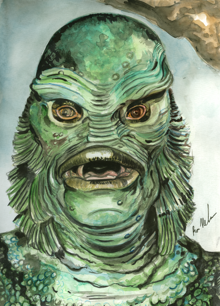 707x983 Creature From The Black Lagoon Painting The Shock Chamber - Creature From The Black Lagoon Painting