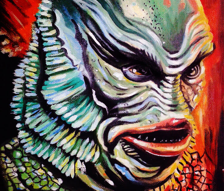 750x640 Creature Painting By Surbina Psychobilla No. 2800 - Creature From The Black Lagoon Painting