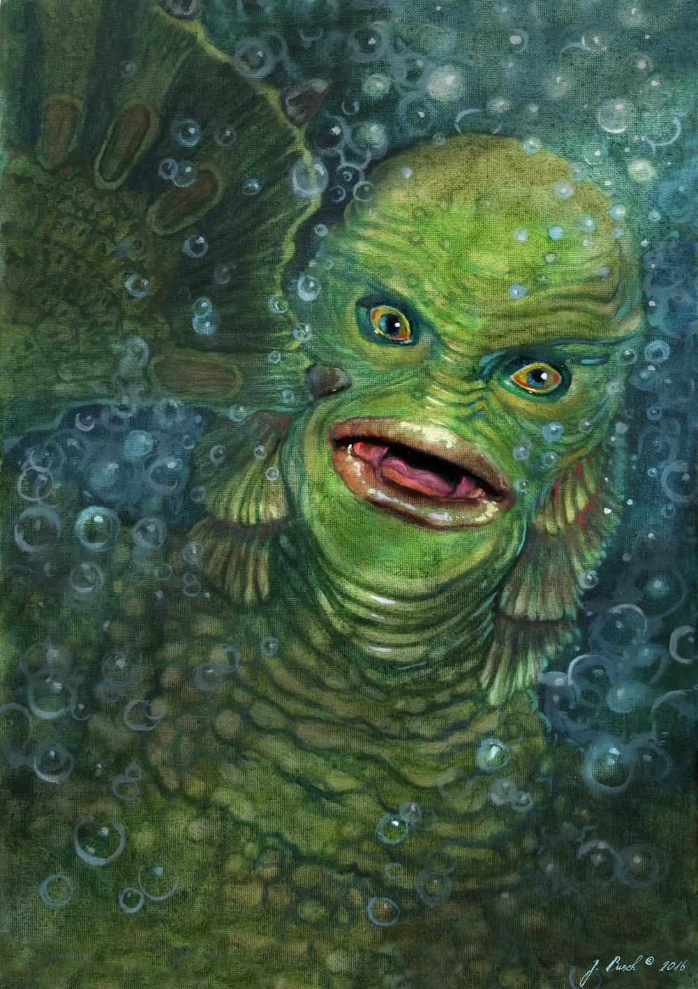 1000x1417 Paintings Ferrule Child The Art Of Jeff Busch - Creature From The Black Lagoon Painting