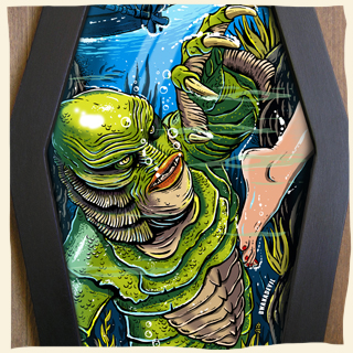 320x320 Rock And Horror Art. Coffin Framed Art And Diamond Framed Art By - Creature From The Black Lagoon Painting