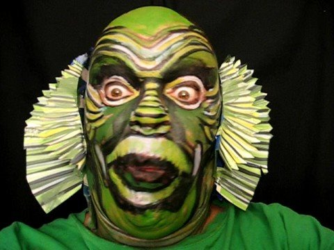 480x360 Creature From Black Lagoon Face Painting. Artist James Kuhn - Creature From The Black Lagoon Painting