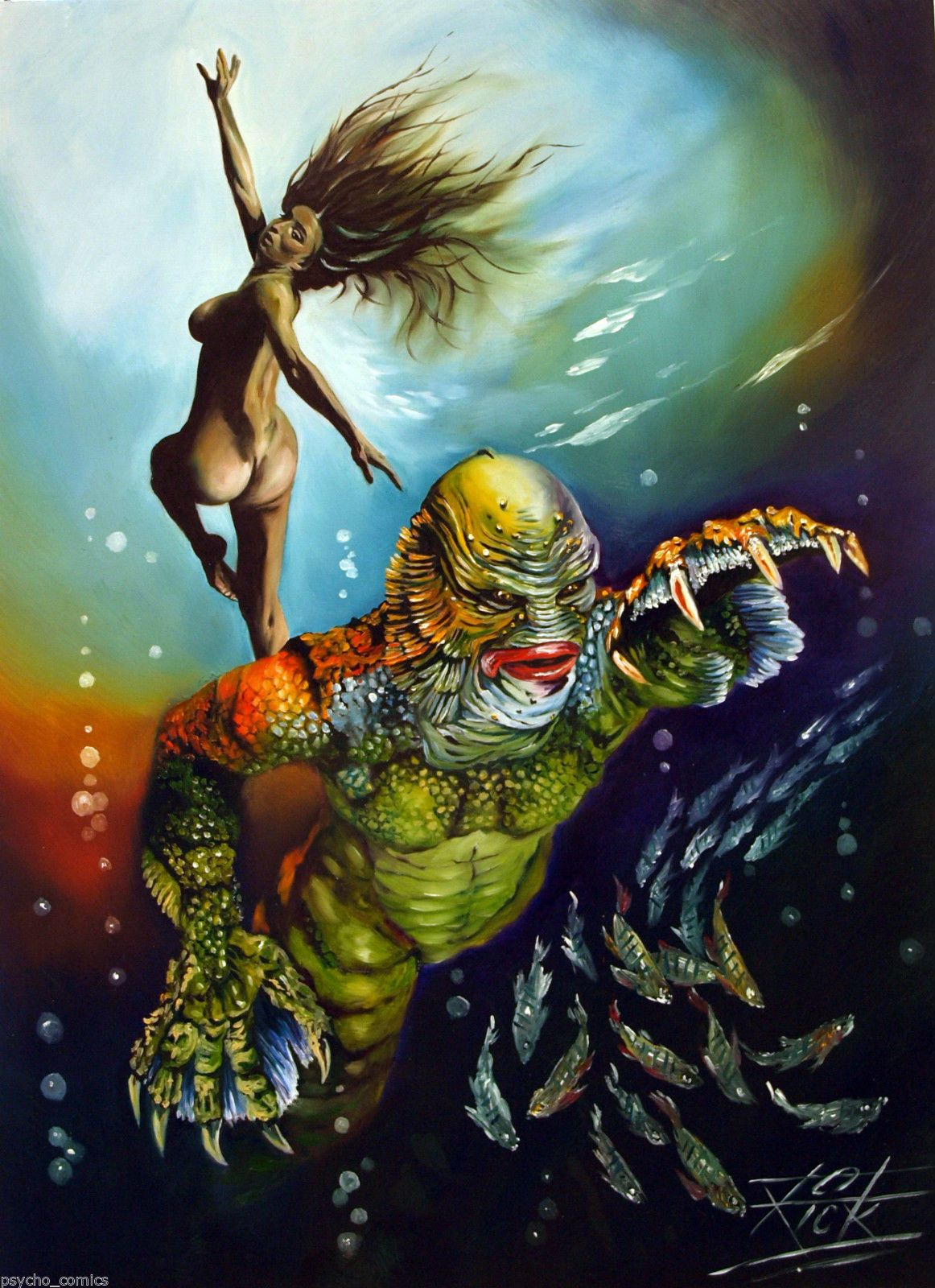1162x1600 Creature From The Black Lagoon.original Oil Painting By Rick Melton. - Creature From The Black Lagoon Painting