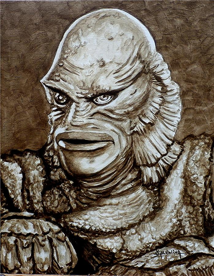 698x900 Classic Creature From The Black Lagoon Painting By Al Molina - Creature From The Black Lagoon Painting