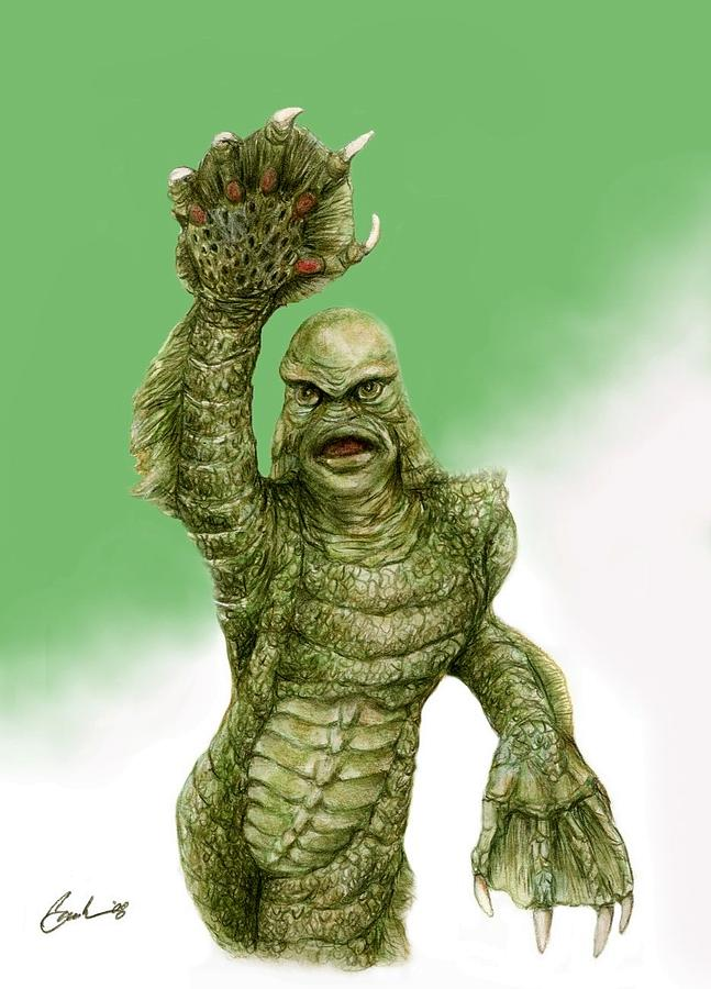 647x900 Creature From The Black Lagoon Painting By Bruce Lennon - Creature From The Black Lagoon Painting