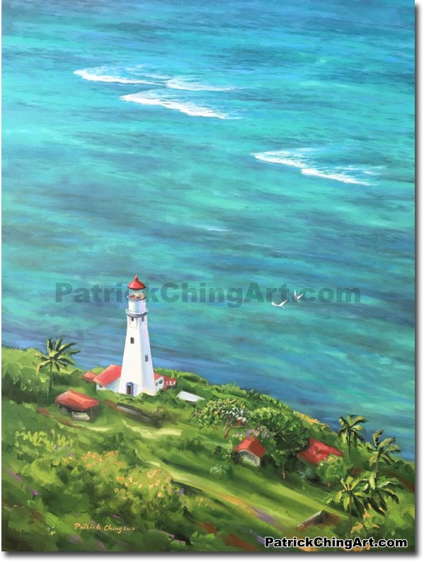 599x794 Diamond Head Lagoon - Diamond Head Painting