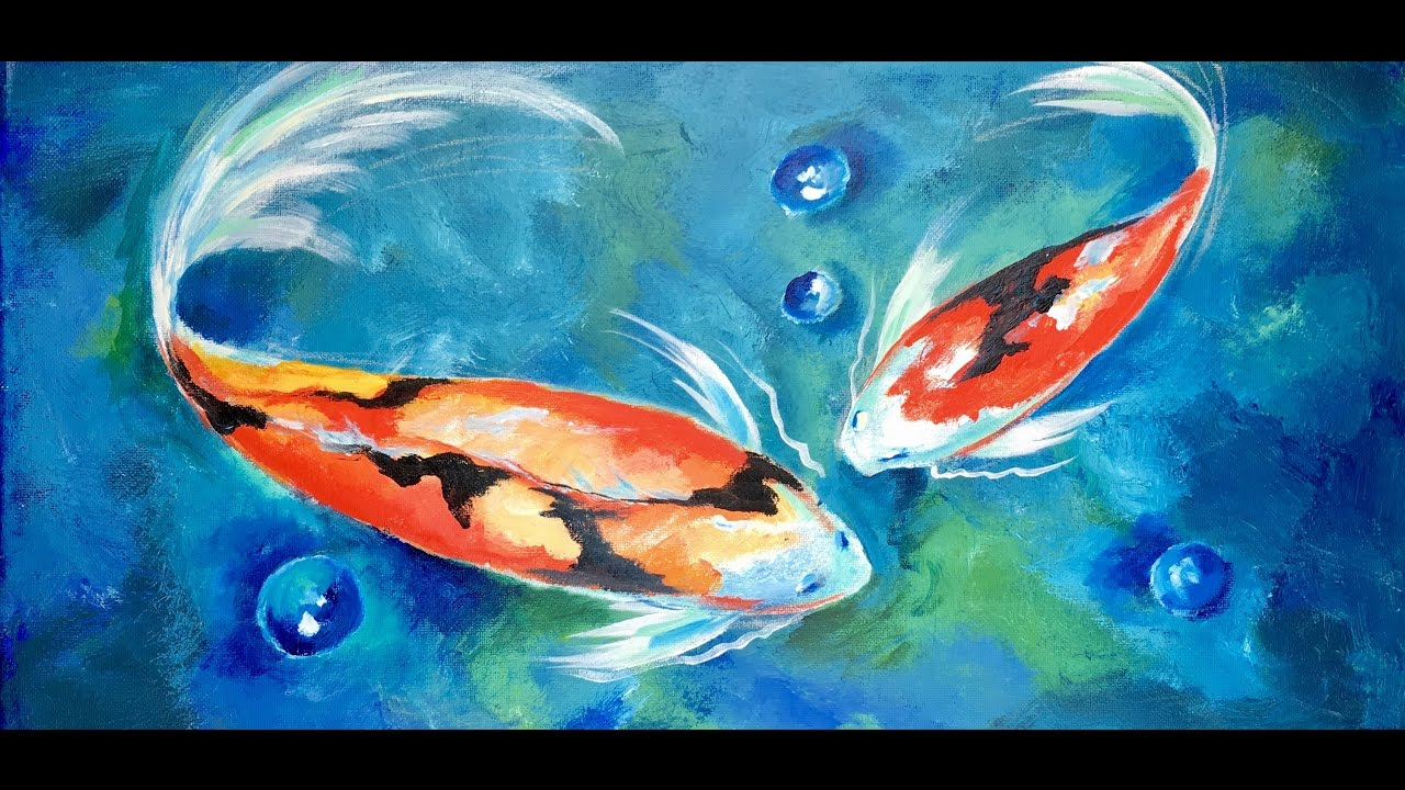 1280x720 How To Paint Two Koi Fish In Blue Lagoon By Ginger Cook - Fish Painting