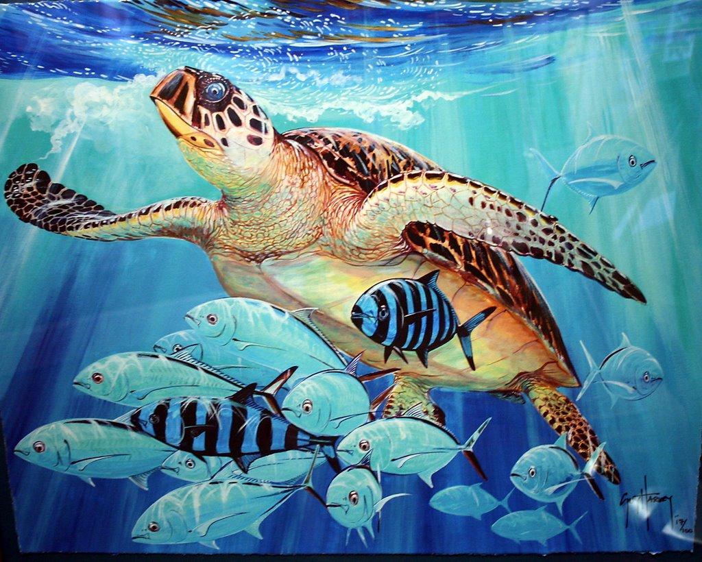 1024x820 Marine Artist Guy Harvey To Help Clean Up San Juan Lagoon - Guy Harvey Painting