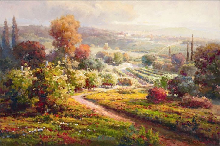 726x483 Roberto Lombardi Valley View Ii Painting Best Valley View Ii - Lombardi Painting