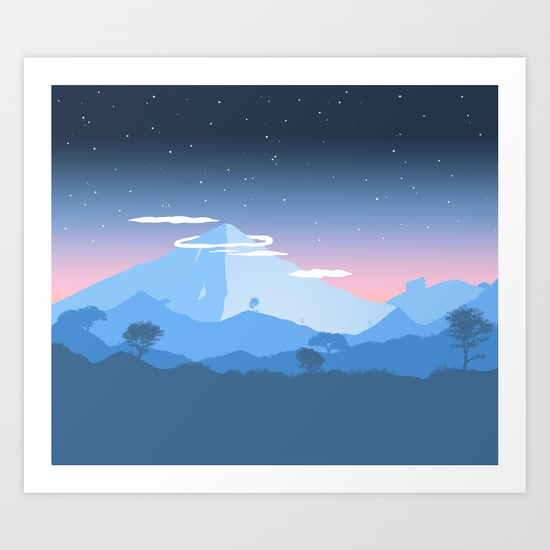 550x550 Mountain View Painting Art Print By Evansmith Society6 - Mountain View Painting