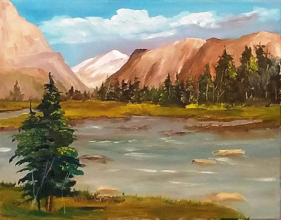 900x706 Mountain View Painting By Larry Hamilton - Mountain View Painting