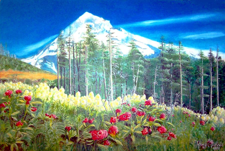 900x606 Mountain View Painting By Romy Galicia - Mountain View Painting