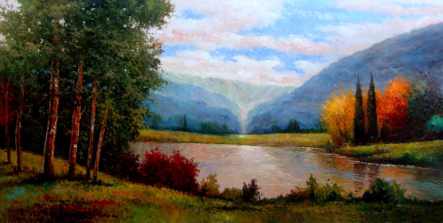 900x454 Mountain View. Landscape Print Painting By Kanayo Ede - Mountain View Painting