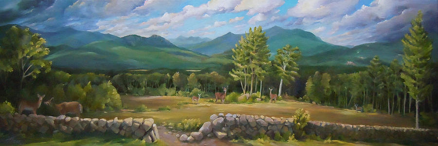 900x300 A White Mountain View Painting By Nancy Griswold - Mountain View Painting