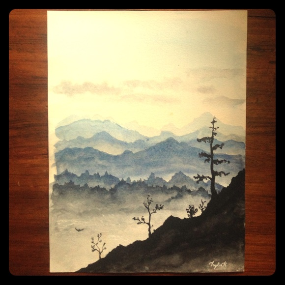 580x580 Other Watercolor Mountain View Painting Poshmark - Mountain View Painting