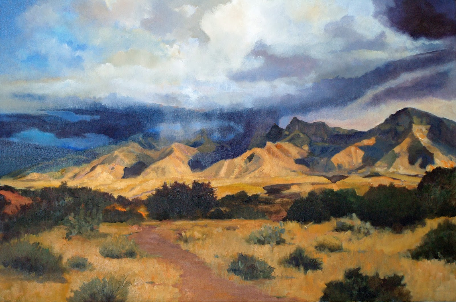 1600x1059 Painting, The Constant Companion Desert Mountain View Studio Painting - Mountain View Painting