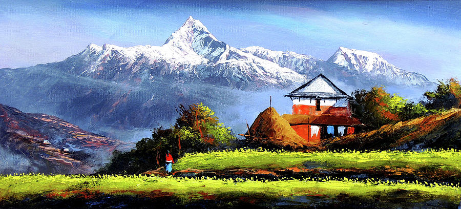 900x408 Panoramic View Of Beautiful Everest Mountain Painting By Whimsy Art - Mountain View Painting