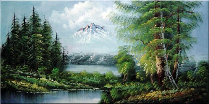 707x353 Peaceful Lake, Forest And Snow Mountain View Oil Painting - Mountain View Painting