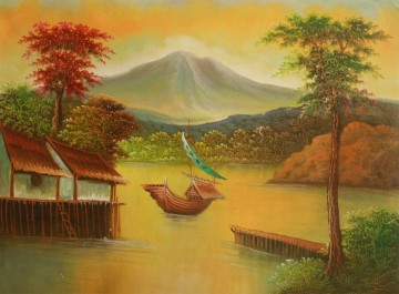 360x265 River And Mountain View Painting - Mountain View Painting