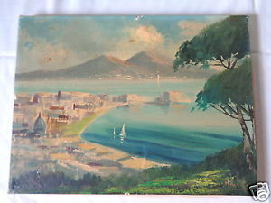 300x225 Vintage Original Mystery Artist European Beach Mountain View - Mountain View Painting