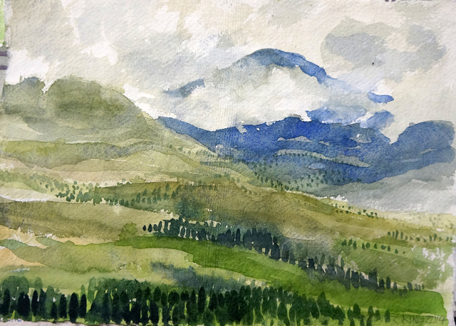 640x458 Walter King Artwork Mountain View Original Watercolor - Mountain View Painting