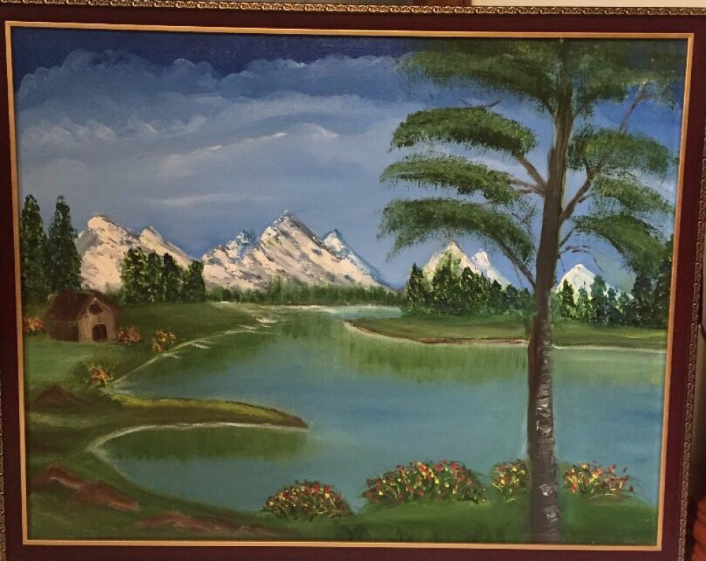 1000x795 Mountain View, Painting By Renu Agarwal Landscape Artwork On Oil - Mountain View Painting