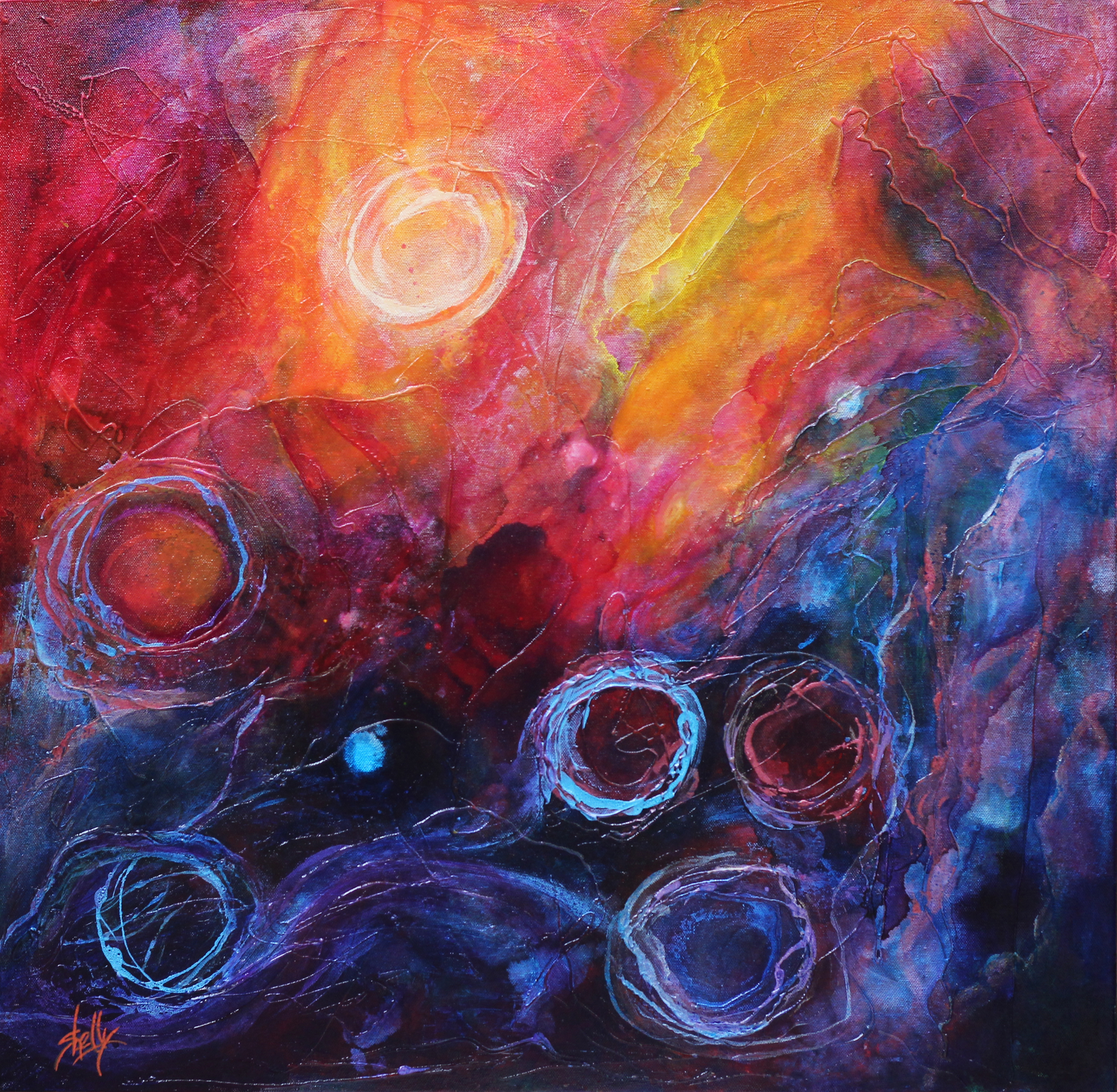 3068x3000 Shelly Leitheiser Artwork Segment Of The Lagoon Original - Nebula Painting Acrylic