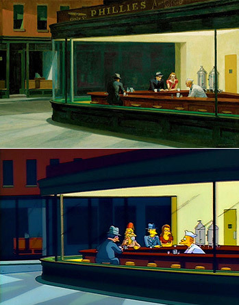 349x445 Nighthawks Shot - Nighthawks Painting