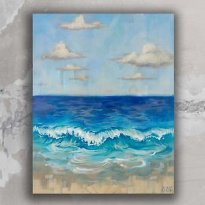 300x300 Ocean View Beach Painting Original 16x20 Art On Canvas Wave Decor - Ocean View Painting