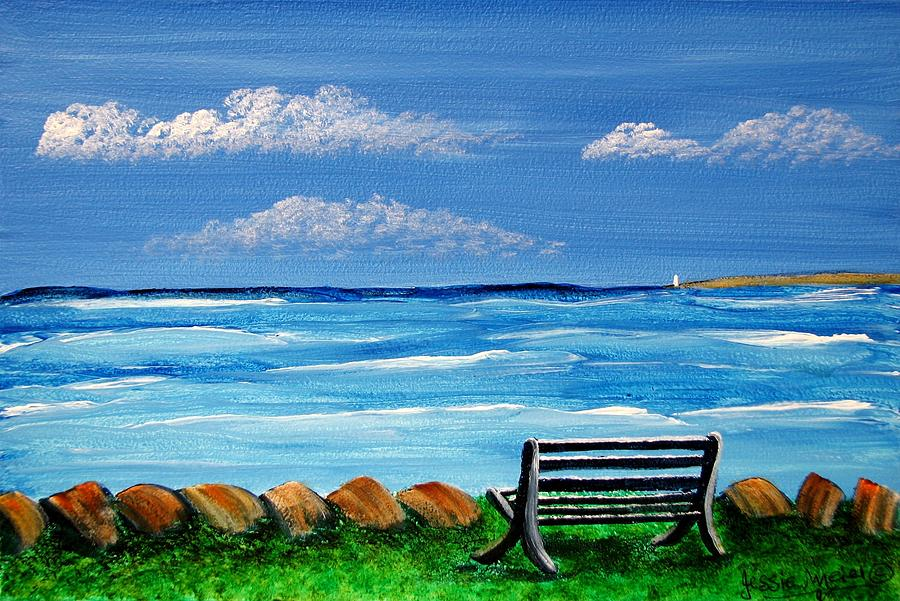 900x601 Ocean View From My Bench 4473 Painting By Jessie Meier - Ocean View Painting