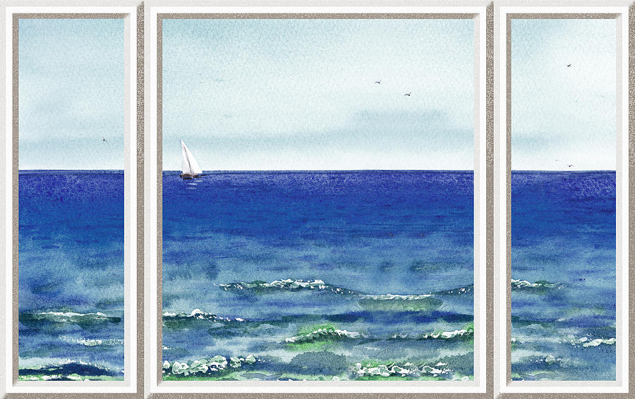 900x566 Ocean View Window Painting By Irina Sztukowski - Ocean View Painting