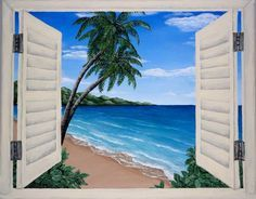 236x184 Acrylic Painting, Window, Beach, Seascape, Ocean View Backpacks - Ocean View Painting