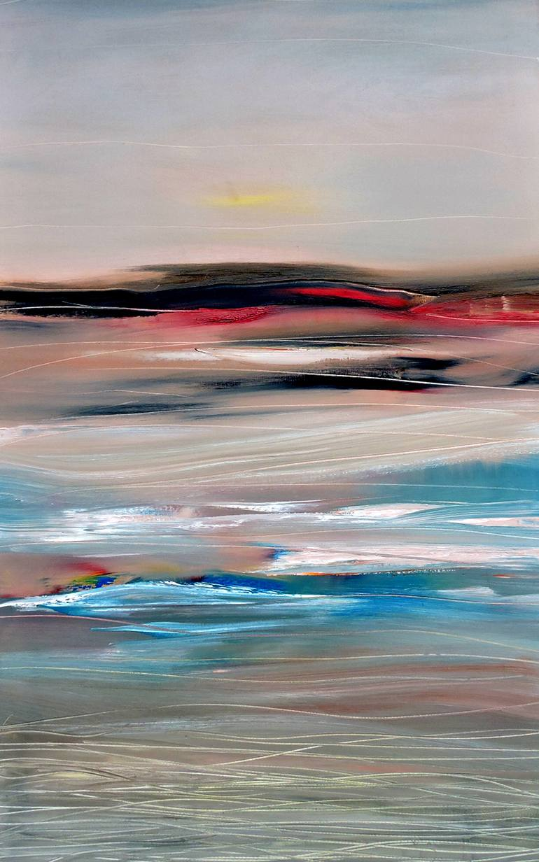 770x1232 Saatchi Art Moody Ocean View Painting By Veta Barker - Ocean View Painting